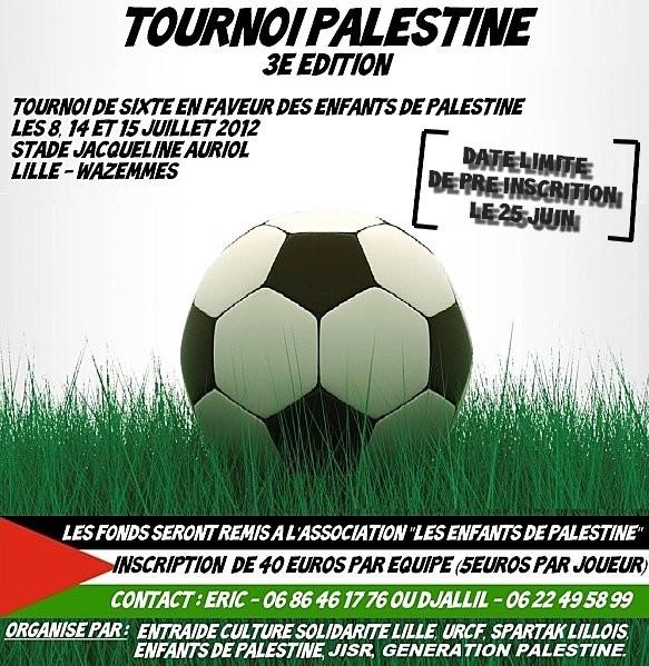 Le Spartak Co-organisateur du tournoi Palestine à Wazemmes